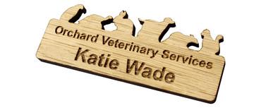 Custom shaped engraved wooden name badges - A custom shaped real wood name badge | www.namebadgesinternational.ie
